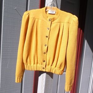 ST JOHN Yellow  Knit JEAN JACKET style sweater S